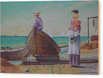 Waiting For Dad Winslow Homer Wood Print by Ron Sylvia