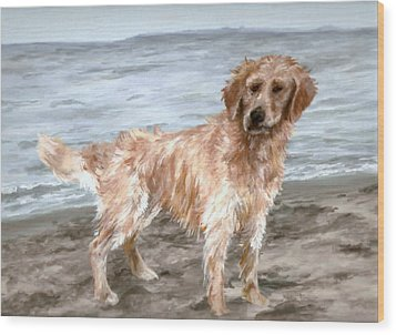 Waiting For Fetch Wood Print by Meagan  Visser