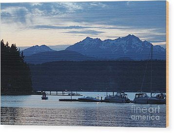 Waiting For Fireworks At Alderbrook Wood Print by Terri Thompson