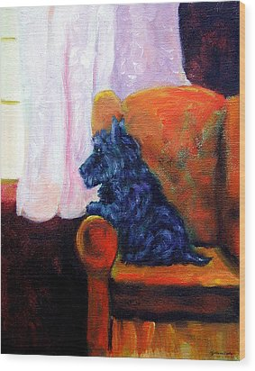 Waiting For Mom - Scottish Terrier Wood Print by Lyn Cook