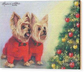 Waiting For Santa Dog Wood Print by Roseanne Marie Peters