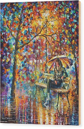 Waiting In The Rain Wood Print by Leonid Afremov