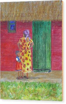 Waiting In Zimbabwe Wood Print