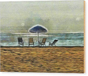 Wood Print featuring the mixed media Waiting On High Tide by Trish Tritz
