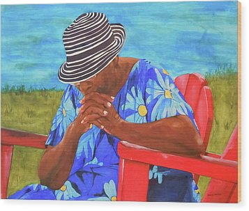 Waiting Patiently Wood Print by Jean Blackmer