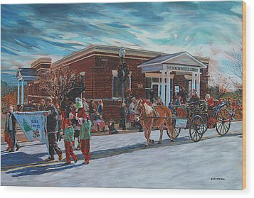 Wake Forest Christmas Parade Wood Print by Tommy Midyette