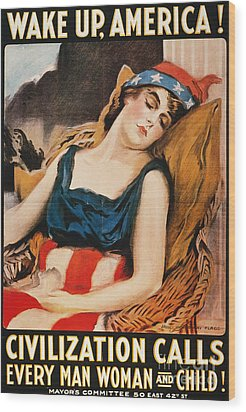 Wake Up America Poster Wood Print by Granger