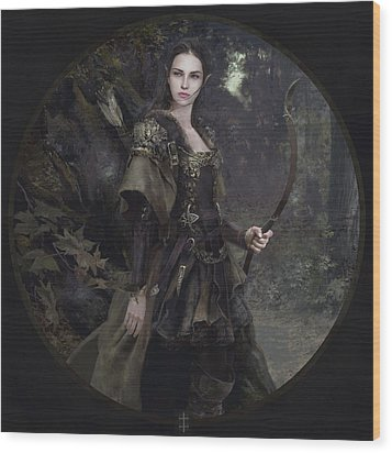 Waldelfe Wood Print by Eve Ventrue