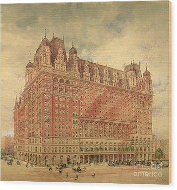 Waldorf Astoria Hotel Wood Print by Hughson Frederick Hawley