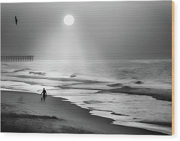 Wood Print featuring the photograph Walk Beneath The Moon by Karen Wiles