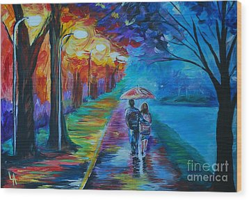Walk By The Lake  Wood Print by Leslie Allen