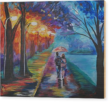 Wood Print featuring the painting Walk By The Lake Series 1 by Leslie Allen