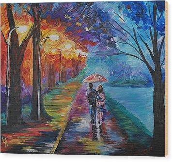 Walk By The Lake Series 1 Wood Print by Leslie Allen