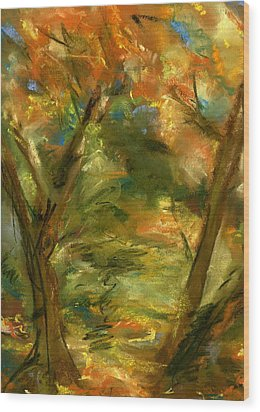 Walk In The Park Wood Print by Marilyn Barton