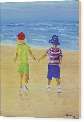 Wood Print featuring the painting Walk On The Beach by Rodney Campbell