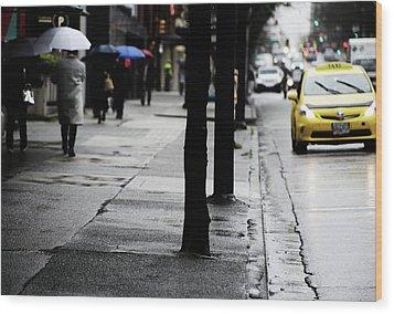 Walk Or Cab Wood Print by Empty Wall