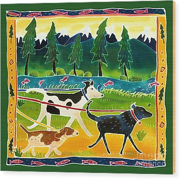 Walk The Dogs Wood Print by Harriet Peck Taylor