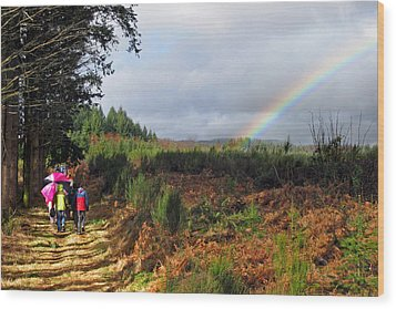 Walkers With Rainbow Wood Print