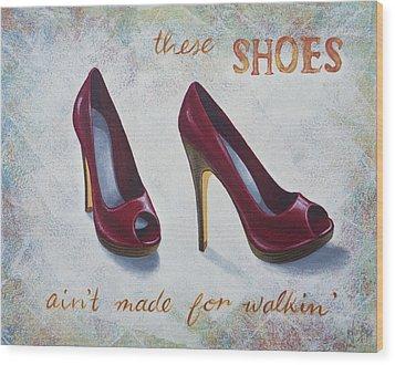Walkin' Shoes Wood Print by Nicola Hill