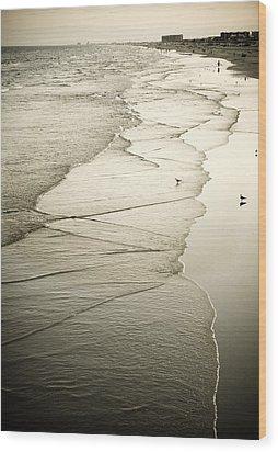 Walking Along The Beach At Sunrise Wood Print by Marilyn Hunt