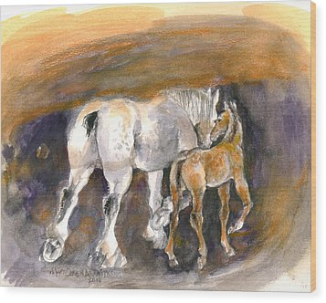 Walking Away Wood Print by Mary Armstrong