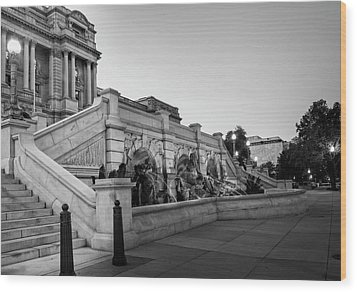 Walking By The Library Of Congress In Black And White Wood Print by Greg Mimbs