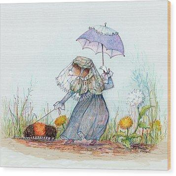 Walking Fuzzy Wood Print by Peggy Wilson