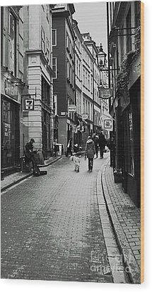 Wood Print featuring the photograph Walking In Gamla Stan by Louise Fahy