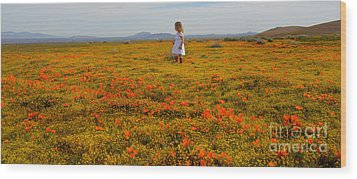 Walking In Poppies Wood Print