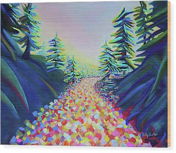 Walking In The Light Wood Print
