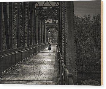 Walking In The Rain Wood Print by Bob Orsillo