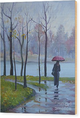 Wood Print featuring the painting Walking In The Rain by Elena Oleniuc
