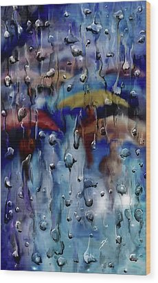 Wood Print featuring the digital art Walking In The Rainfall by Darren Cannell