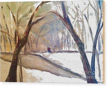 Walking In White Wood Print