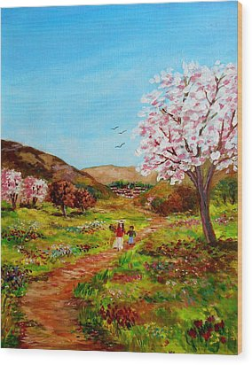 Walking Into The Springfields Wood Print by Constantinos Charalampopoulos