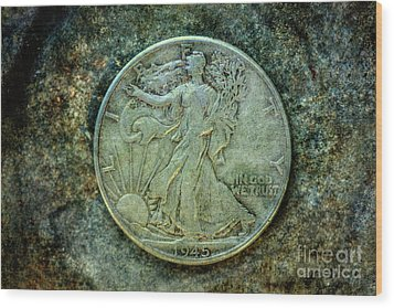 Wood Print featuring the digital art Walking Liberty Half Dollar Obverse by Randy Steele