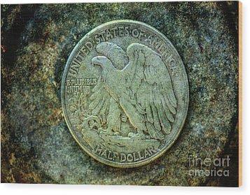 Wood Print featuring the digital art Walking Liberty Half Dollar Reverse by Randy Steele