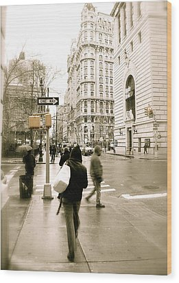 Walking New York Wood Print by Michael Peychich