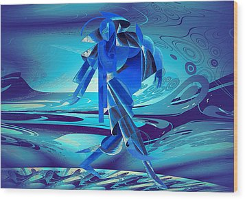 Wood Print featuring the digital art Walking On A Stormy Beach by Robert G Kernodle
