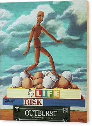Wood Print featuring the painting Walking On Eggshells Imaginative Realistic Painting by Linda Apple