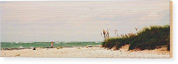 Walking The Beach Wood Print by Ian  MacDonald