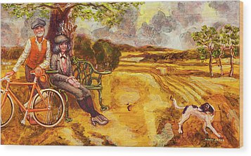 Walking The Dog After Gainsborough Wood Print by Mark Jones