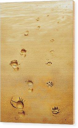 Walking The Dog Wood Print by Mal Bray