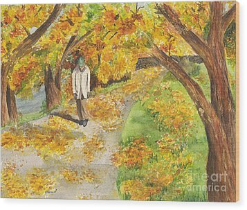 Walking The Truckee River Wood Print