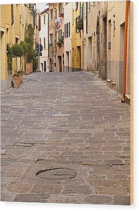 Walking Through Montepulciano Wood Print by Rae Tucker
