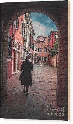 Walking Through Time - Venice, Italy Wood Print