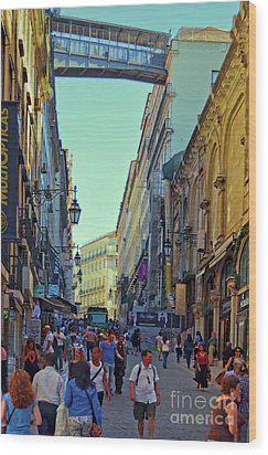 Wood Print featuring the photograph Walkway Over The Street - Lisbon by Mary Machare