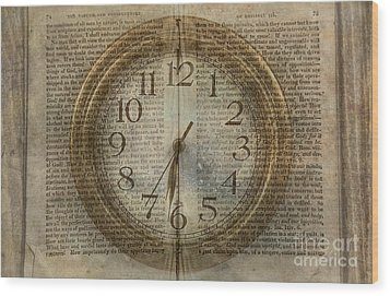 Wood Print featuring the digital art Wall Clock And Book Double Exposure by Randy Steele