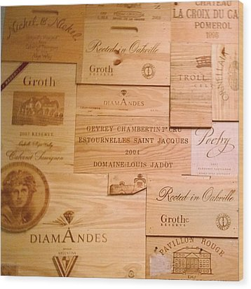 Wall Decorated With Used Wine Crates Wood Print