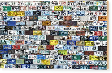Wall Of American License Plates Wood Print by Christine Till